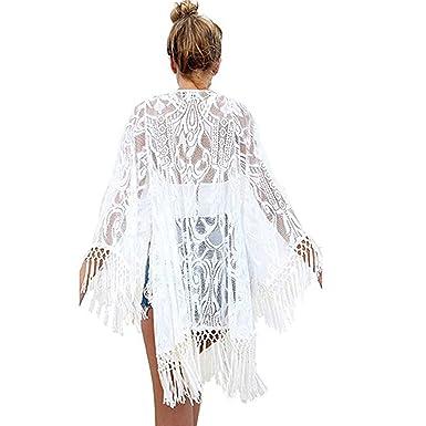 b2513833a4cc5d Sexy Spitze Quasten Hohle Kimono Cardigan Sommer Strand Cover Top Weiss:  Amazon.de: Bekleidung