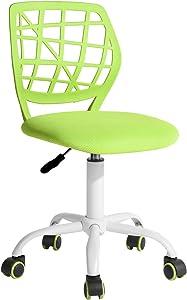FurnitureR Computer Desk Chair, Swivel Armless Mesh Task Office Chair Adjustable Home Children Study Adjustable Height & Lumbar Support (Green) …
