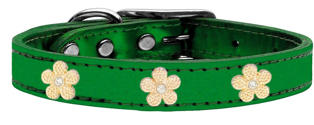 Mirage Pet Products gold Flower Widget Genuine Metallic Leather Dog Collar, Emerald Green, Size 16