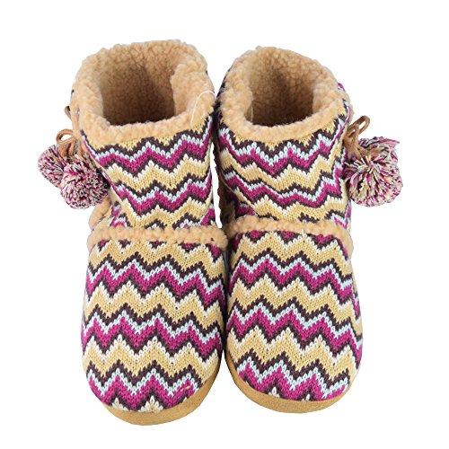 BTS–Cabaña de mujer Zapatos, zapatillas Calentito. plisadas con borlas, colores rosa, marrón, naranja gr 37/38–41/42 marrón