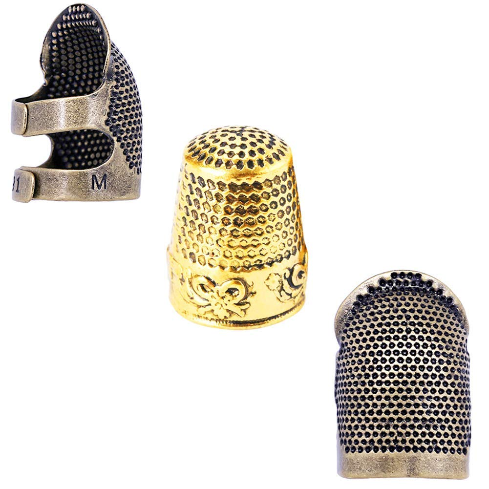 3PCS Sliver Thimble Ring Hand Sewing Quilting Stitch Finger Protector DIY Tools