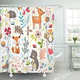 Emvency Shower Curtain Colorful Hedgehog with Cute Cartoon Forest Animals on White Different Plants Children's Branch Fox Waterproof Polyester Fabric 72 x 72 inches Set with Hooks
