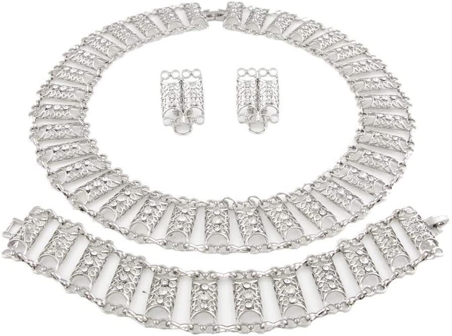 HFJ/&YIE/&H Ensemble de Bijoux doreille en Diamant Anneau Collier Bracelet serti de Diamants Feuilles de Style Ethnique Collier pour Les Femmes et Les Filles en Argent