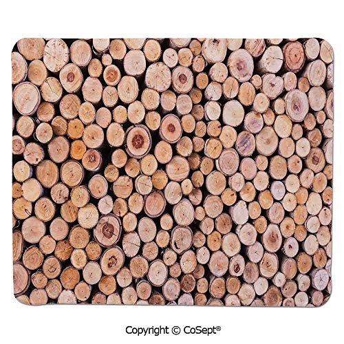 Stack Twin Aluminum (Ergonomic Mouse pad,Mass of Wood Log Forest Tree Industry Group of Cut Lumber Circle Stack Image,Non-Slip Water-Resistant Rubber Base Cloth Computer Mouse Mat (11.81
