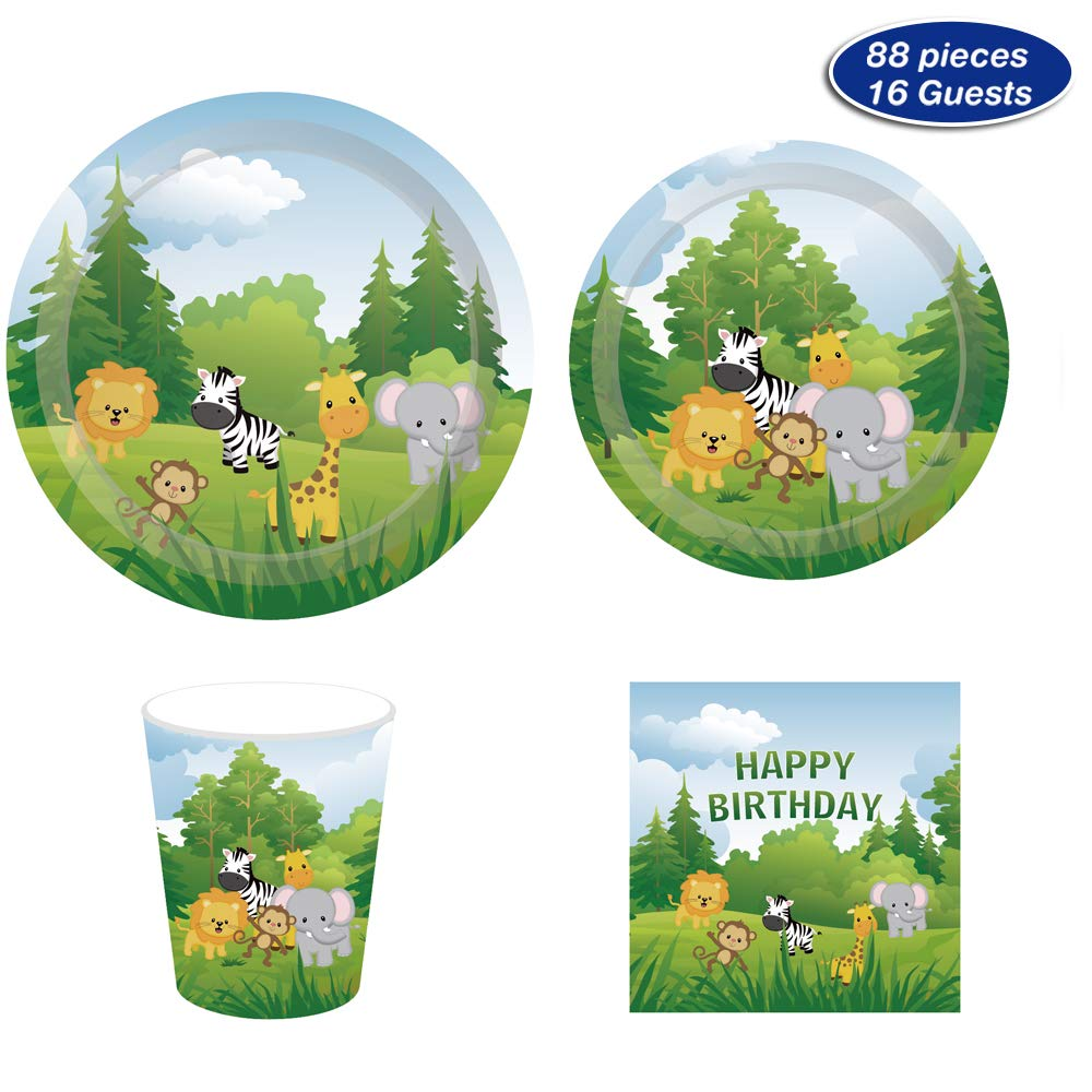 Safari Jungle Animals Party Supplies - Serves 16 - Includes Plates, Cups and Napkins Perfect for Theme Party,1st Birthday,Baby Shower,Picnic,Thanksgiving,Christmas,Home Parties and Festivals(88)