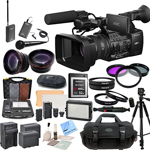 Sony PXW-Z100 4K Handheld XDCAM Camcorder & CS Interview/Documentary Kit: Includes Wireless Lapel & Handheld Microphone Kit, Professional Aluminum Tripod, Weather Proof Case, Sony 32GB G Series XQD Format Version 2 Memory Card, SD Card Reader, Memory Card by Sony