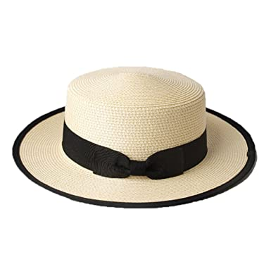 4f7538785e7bb Boater Hat for Summer Mens Boys Womens Straw Contrast Canotier Sun Hat-White   Amazon.co.uk  Clothing