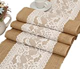 "Aokbean 12""x108"" RusticWedding Favor Burlap Table Runner With Lace Indoor Outdoor Wedding Party Decoration (3)"