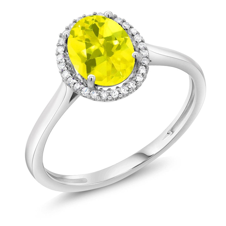 640108c93 10K White Gold Diamond Ring 1.30 Ct Oval Canary Mystic Topaz   Amazon.com