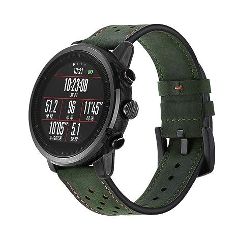 ☀️Modaworld Pulsera de Reloj de Cuero Pulsera de muñequera para Amazfit Stratos 2 / 2S Smart Watch Correas de Reloj Inteligente Pulseras de Repuesto ...