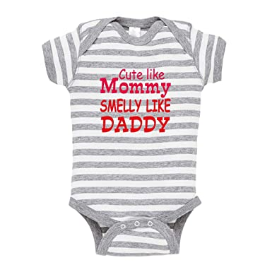 aaa31c3cc5f Cute Like Mommy' Smelly Like Daddy Baby Combed Ring-Spun Cotton Stripe Fine  Bodysuit