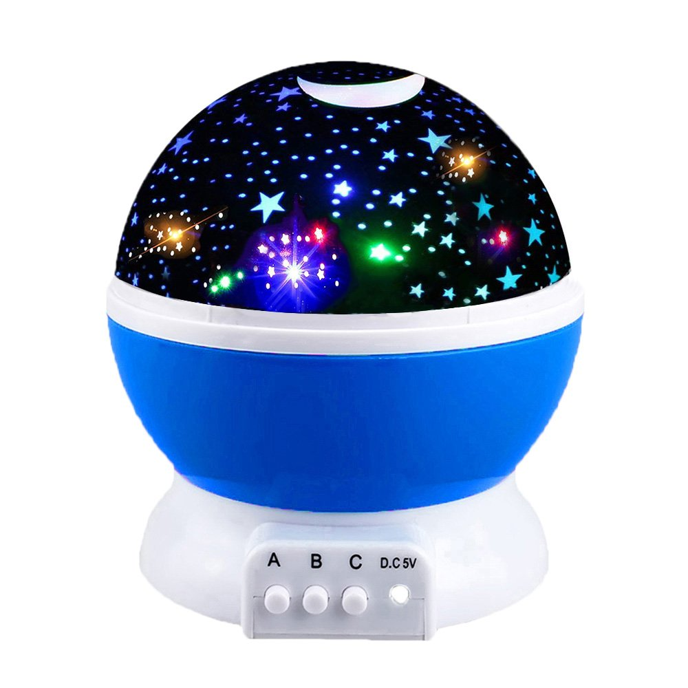 Toys for 2-10 Year Old Boys, Ouwen Star Rotating Night Light for Kids Toys for 2-10 Year Old Girls 2-10 Year Old Girls Gifts 2-10 Year Old Boys Gifts Blue OWUSNL001