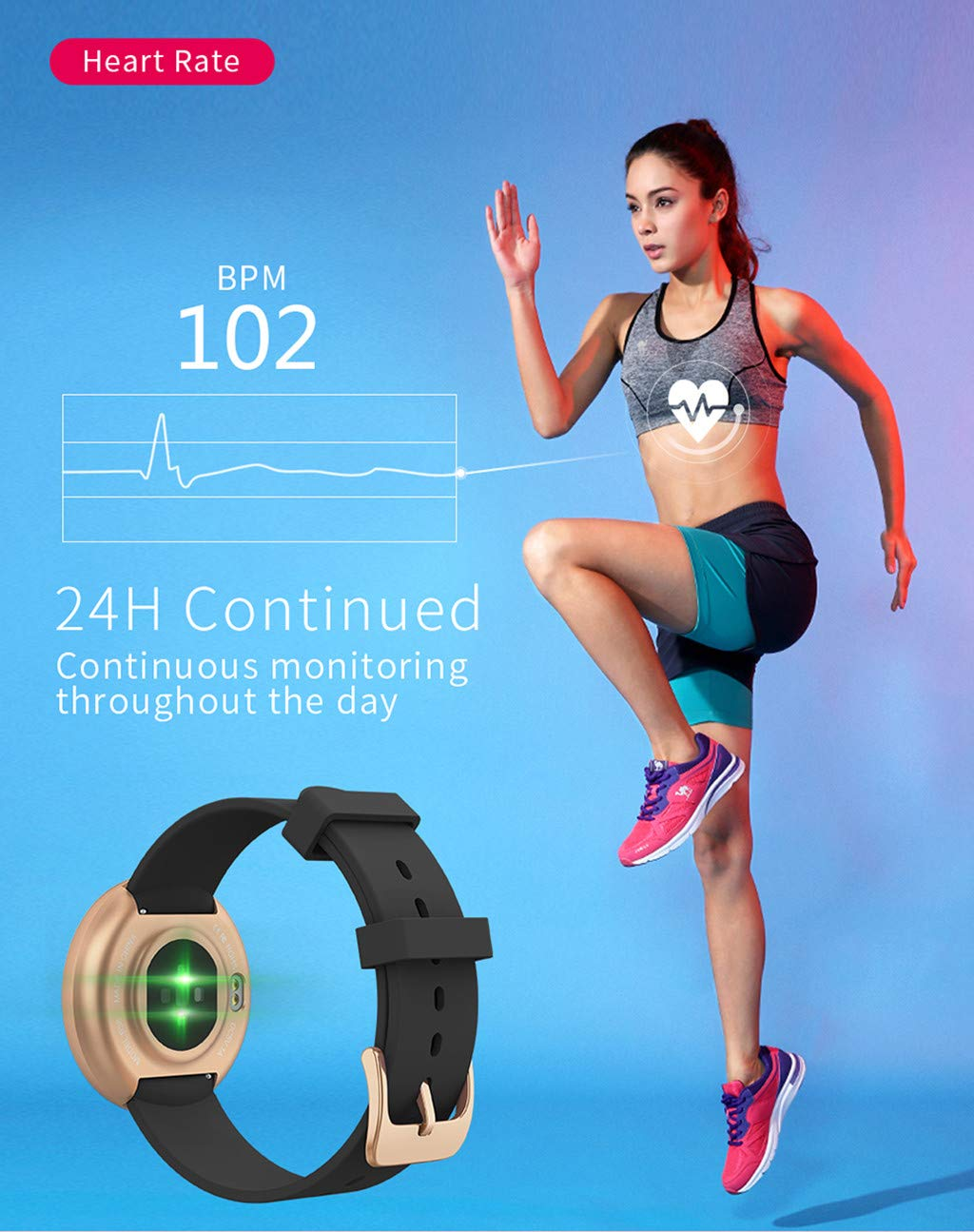 TADAMI Female Heart Rate Color Screen Physiological Period Reminds Fashion Smart Bracel (Black) by TADAMI Blouse (Image #8)