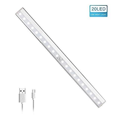 Lámpara de armario detector de movimiento, 20 LED inalámbrico recargable por USB, luz nocturna