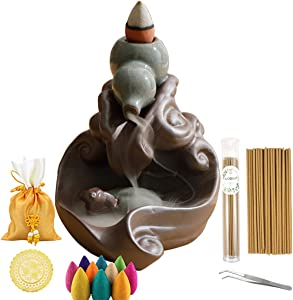 Backflow Incense Holder Green Lying Cow Waterfall Incense Burner with 40 Incense Cones 50 Incense Sticks Sets Ceramic Incense Holder Figurine Home Decor Gift Decorations Statue