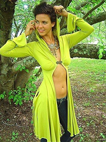 Dominique Long Festival Elven Hoodie Jacket Clasp Front Bohemian Elegance