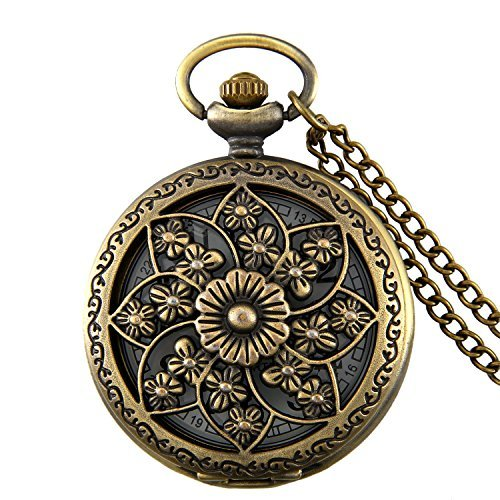 JewelryWe Retro Bronze Flower Openwork Cover Quartz Pocket Watch with 32.3 Inch (Necklace Clock)