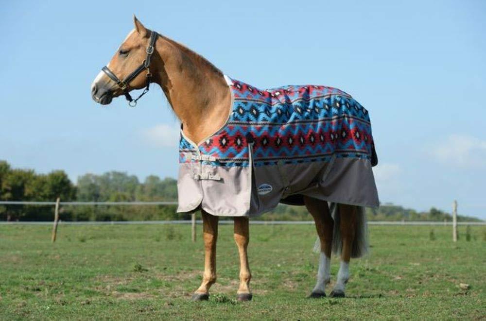 Weatherbeeta Comfitec Essential Standard Neck Medium Turnout Blanket (Blue Navajo Print/Taupe, 78'') by Weatherbeeta