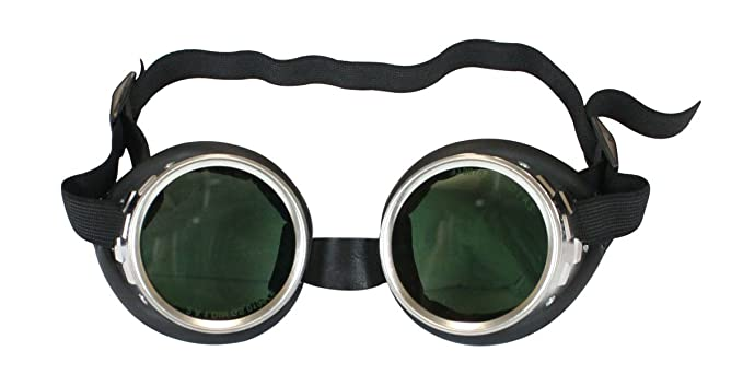 Men's Steampunk Goggles, Guns, Gadgets & Watches Historical Emporium Mens Screw Ring Tinted Goggles Silver $30.95 AT vintagedancer.com