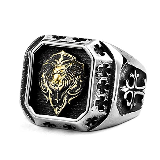 LILILEO Jewelry Titanium Steel Plated Gold Lion Head Ring For
