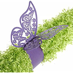 King&Pig 50pcs Laser Cut Butterfly Shape Napkin Rings for Dinners Lunch Tables Home Wedding Birthday Date Anniversray Party Decorations (purple)