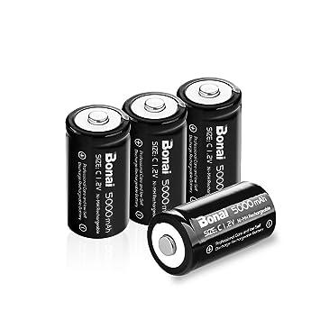BONAI Ultra Pilas Recargables C 5000 mAh Baterías Recargables (Precargadas, 1.2V, 1200 Ciclos, Ni-MH) Paquete de 4