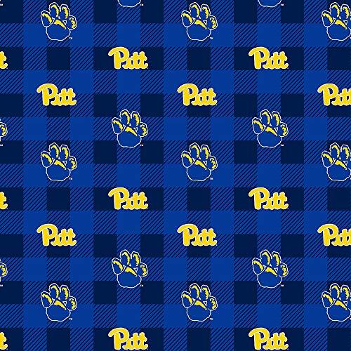 University of Pittsburgh Fleece Blanket Fabric-Pittsburgh Panthers Fleece Fabric with Buffalo Plaid Design