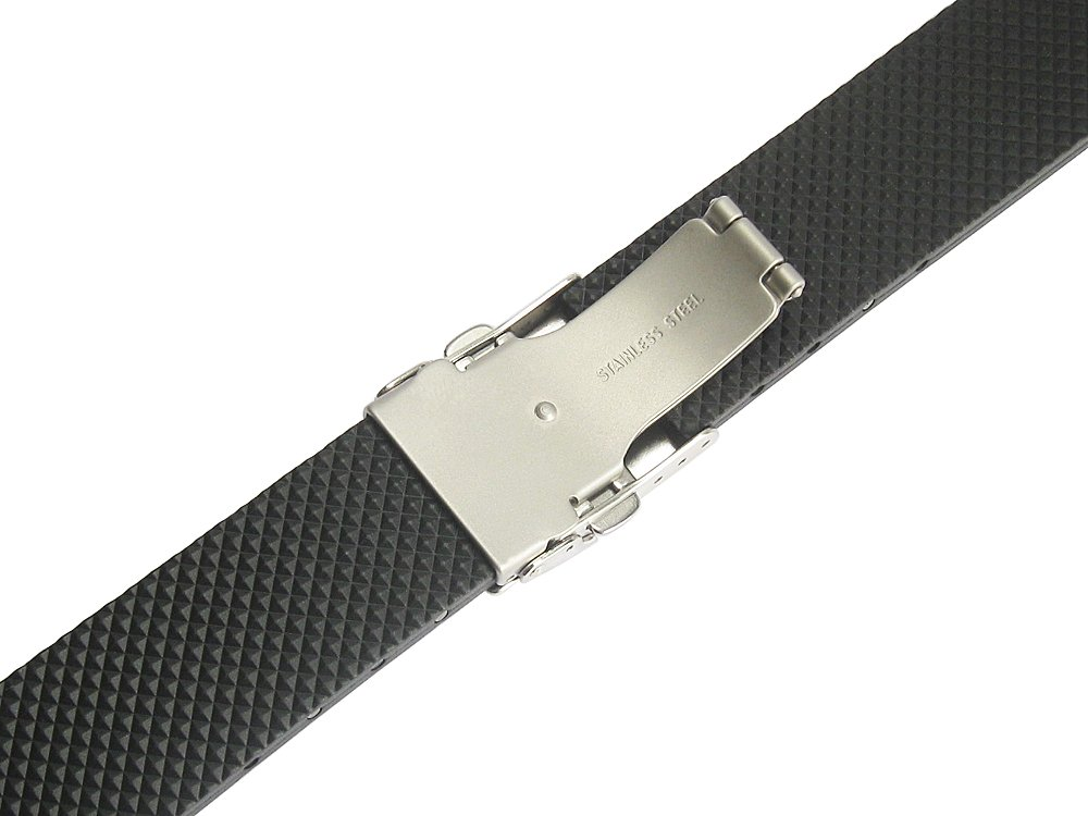Bonetto Cinturini 18mm Black Rubber Watch Strap Model 300L