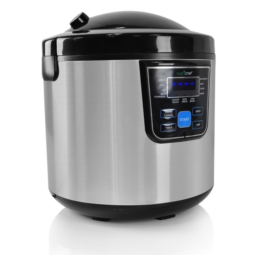 NutriChef PKMRC46 10-In-1 Multi Cooker Rice Soup Bean-24Hr Dealy Timer, 6 quarts, Stainless Steel