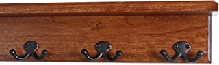 """product image for PegandRail Solid Cherry Shelf Coat Rack with Aged Bronze Double Style Hooks - Made in The USA (Mahogany, 16"""" with 3 Hooks)"""
