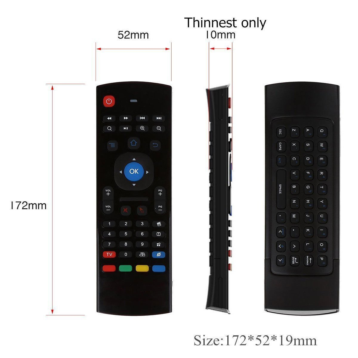 REDGO Air Mouse, 2.4G MX3 Portable Mini Wireless Qwerty Keyboard Mouse, Multifunctional Infrared Remote Control for Android Smart TV Box IPTV HTPC Mini PC Windows IOS MAC Xbox by REDGO (Image #2)