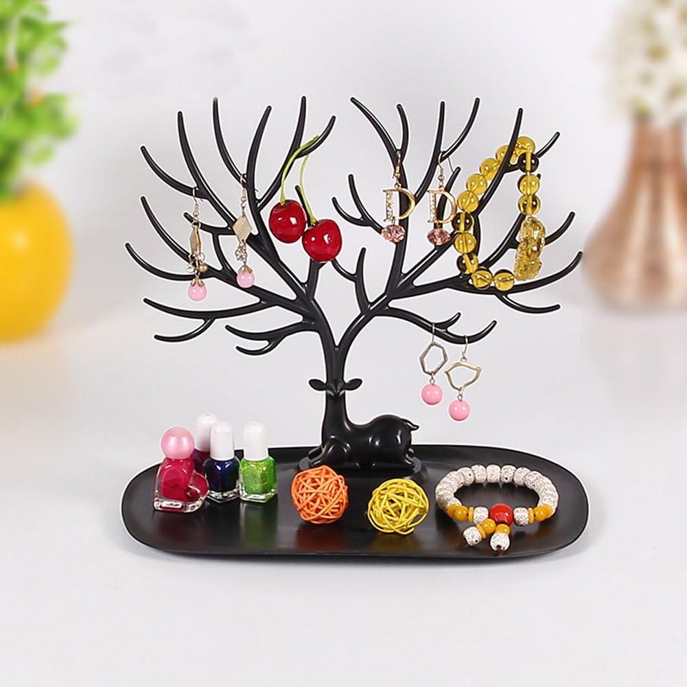 Pr/ésentoir /à bijoux // porte-bijoux en forme d/'arbre avec motif de cerf Sika pour bagues//collier Small blanc cadeau danniversaire//No/ël