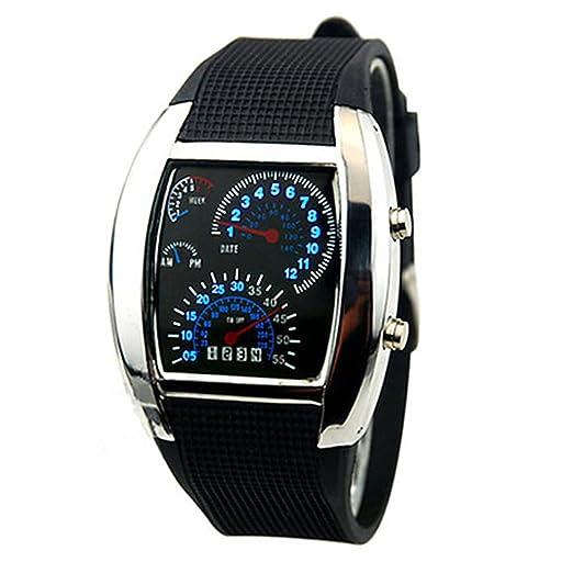 Moda Hombre RPM Turbo azul Flash LED reloj de regalo relojes deportivos coche medidor Dial: Amazon.es: Relojes