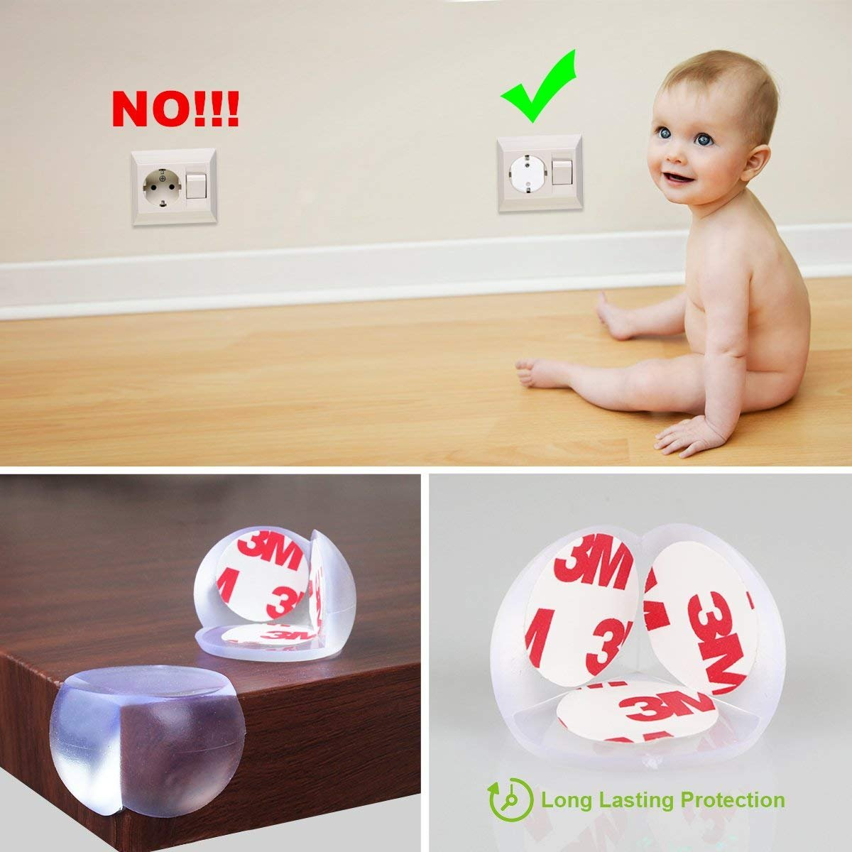 Baby Safety Proofing Kits (56 Pack) 20Pcs Outlet Covers +6Pcs Child Safety Proofing Cabinet Locks+ 20Pcs Corner Protector Edge Guard+ 6Pcs Children Cupboard Locks + 4Pcs Kids Safety Foam Door Stoppers by HOMER (Image #4)