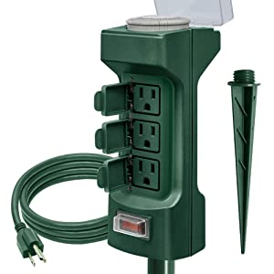 Outdoor Power Stake Timer, Kasonic 6 Grounded Outlets Mechanical Timer for Yard&Garden; ETL Certified Yard Power Stake, with 6 ft Outdoor Extension Cord & Weatherproof Safety Cover- Green