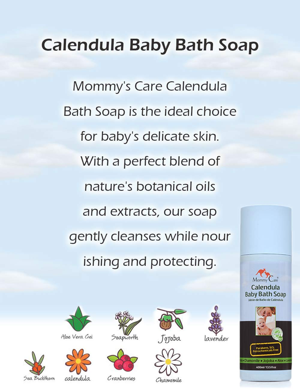 Baby Bath Soap Certified Organic [Mommy Care] Calendula Body Wash for Babies All Skin Types Great for Eczema and Dry Skin [SLS and Paraben Free]