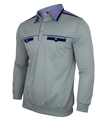 Blousonshirt aus Baumwoll-Mix Humy Herren Langarm Polo Sweat Shirt mit Kragen M bis 3XL Polohemd