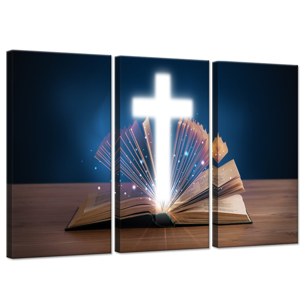 Hello Artwork 3 Pieces Religious and Spiritual Canvas Wall Art Open Holy Bible With Glowing Christian Cross On Wooden Deck Painting Giclee Wrap Artwork Framed For Home Decor Ready To Hang