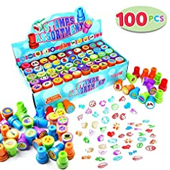 100 Pieces Assorted Stamps for Kids Self...