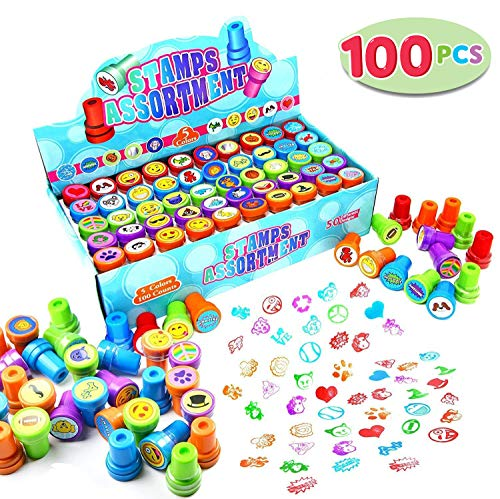 (100 Pieces Assorted Stamps for Kids Self-ink Stamps (50 DIFFERENT Designs, Plastic Stamps, Emoji Stampers, Dinosaur Stampers, Zoo Safari Stampers) for Easter Egg Stuffers, Party Favor, Teacher Stamps)