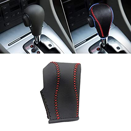 Non-slip Leather Gear Shift Knob Cover MT for 3008 5 Speed Manual Shift Lever Red /& Black
