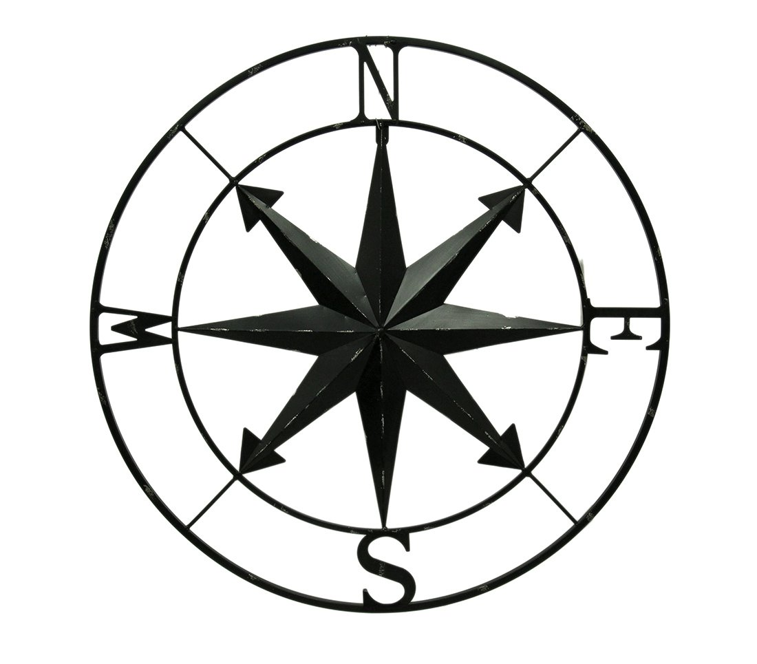 Zeckos Distressed Metal Indoor/Outdoor Compass Rose Wall Hanging 28 Inch