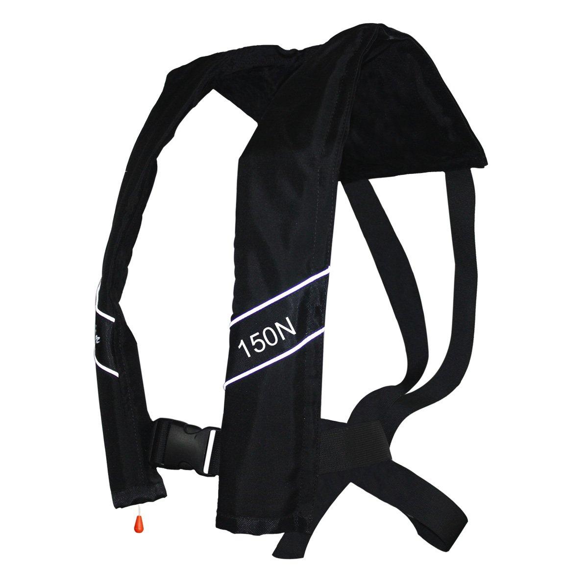 プロフェッショナル PFD 自動膨張式ライフジャケットベスト 150N 大人用 (ブラック)