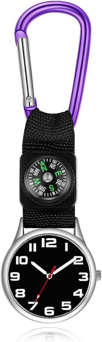 QWhing Relojes de bolsillo de aleación de cinturón gancho túnica mosquetón enfermera reloj Doctor (morado)