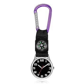 HSDDA - Reloj de Bolsillo con Clip para médicos, mosquetón, Enfermera, para Hombres
