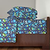 Roostery Moroccan 3pc Sheet Set Blue Boy Elephant And Hand Of Fatima Pattern by Littlesmilemakers Twin Sheet Set made with