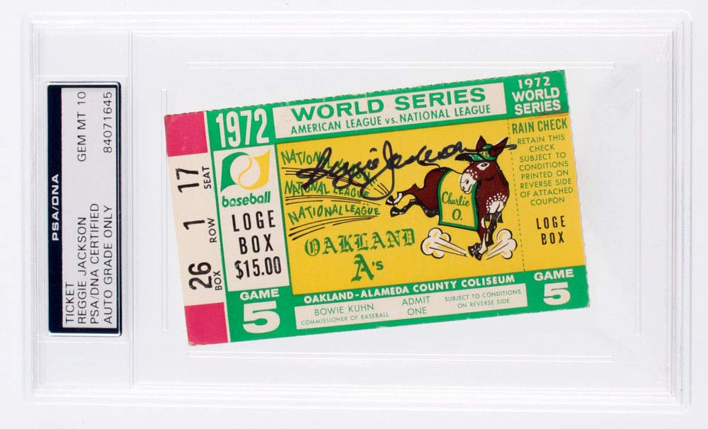 Reggie Jackson Autographed Signed 1972 World Series Game 5 Ticket PSA/DNA Certified
