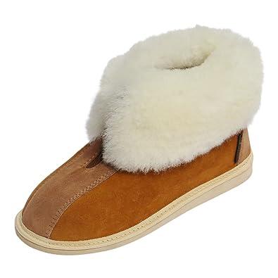 Hollert German Leather Fashion Lammfell Hausschuhe - Alaska Fellschuhe Hüttenschuhe Schaffell Echtleder Damen Herren Size EUR 42 A4ohNlDuF