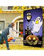 JETEHO Halloween Bean Bag Toss Game with 4 Bean Bags, Pumpkin Bean Bag Toss Games, Throwing Games for Kids Halloween Games for Kids Party Indoor-Outdoor, 30'' X 55''