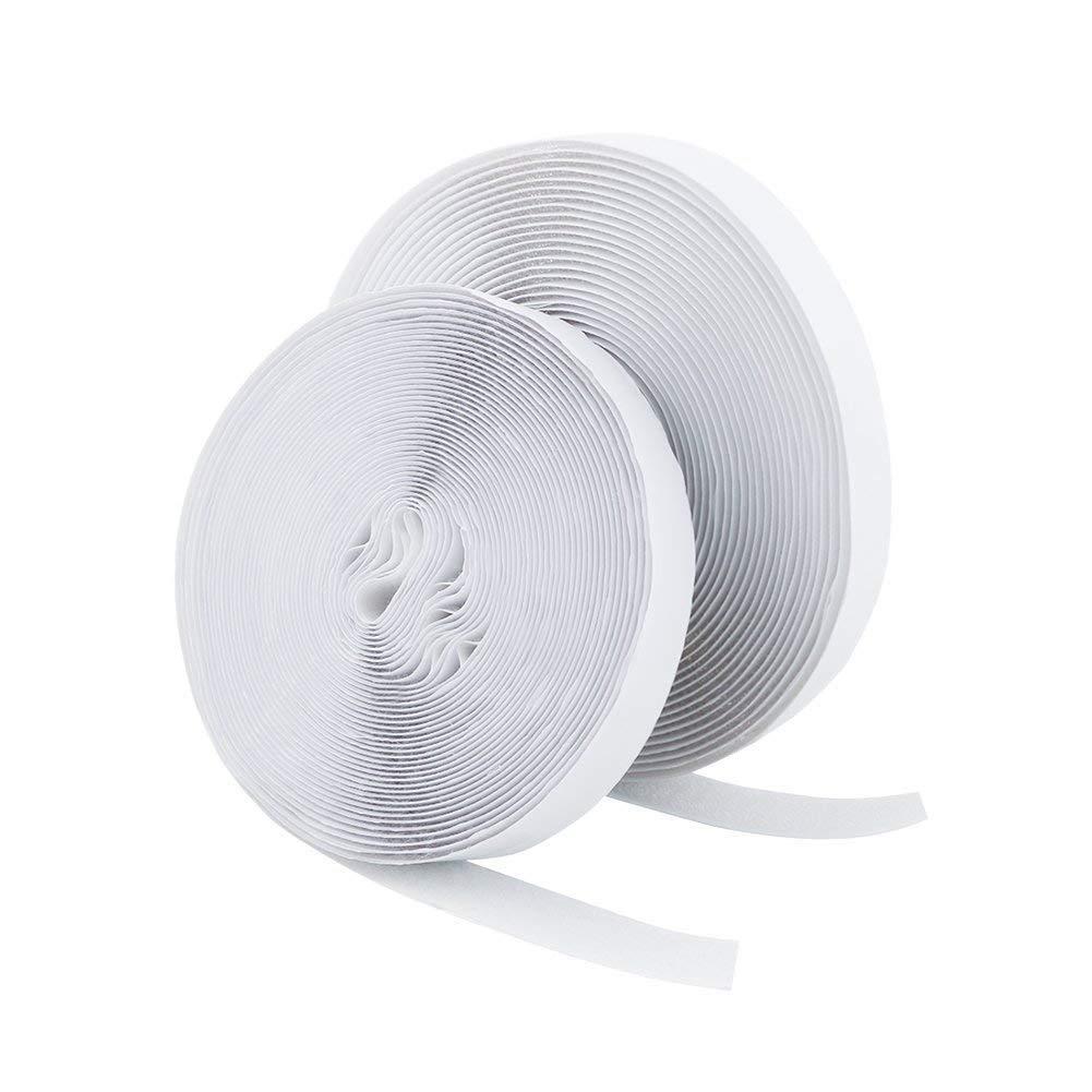 Vicloon Velcro Strisce Laccio Adesivo, Velcro e Ganci 20mm di Larghezza 5M di Lunghezza, Nastro adesivo magnetico incl. Una Fascetta con Fibbia (bianco) BHBUKALIAINH967